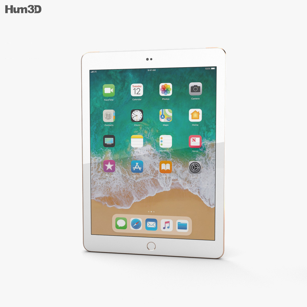 Apple iPad 9.7-inch (2018) Cellular Gold 3d model