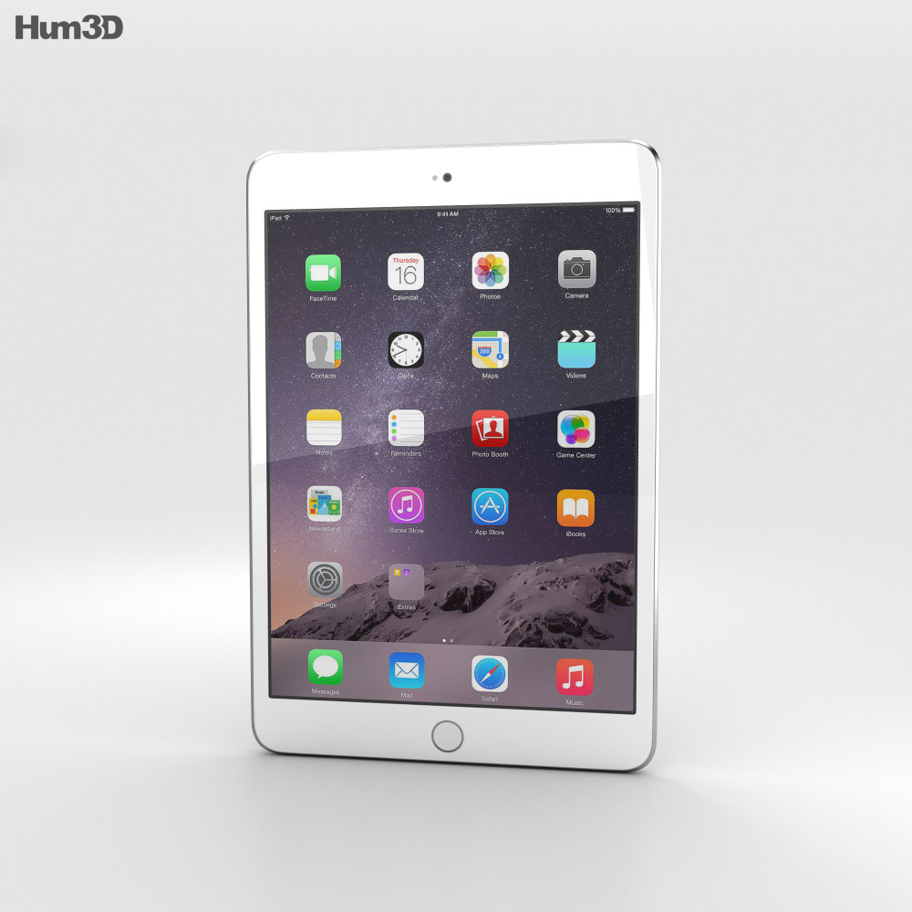 Apple iPad Mini 3 Silver 3d model