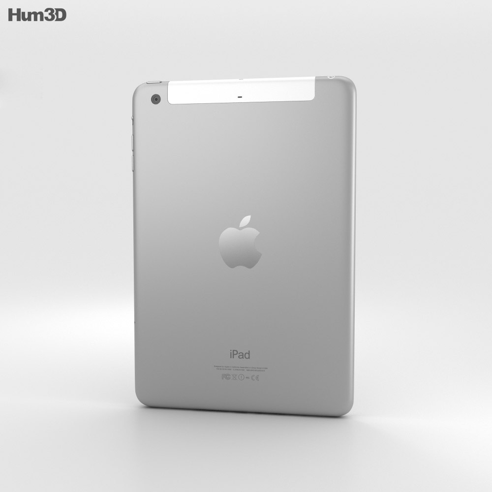 Apple iPad Mini 3 Cellular Silver 3d model
