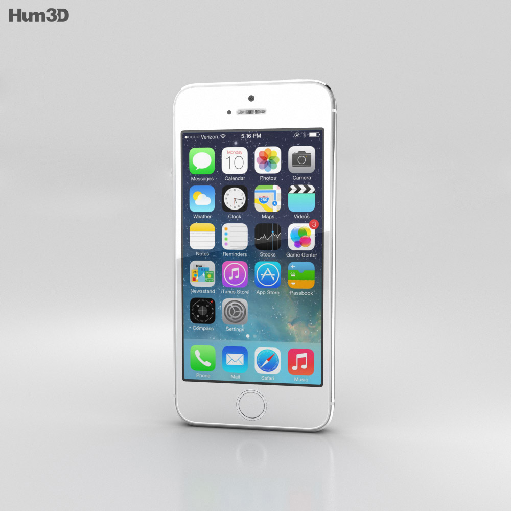Apple iPhone 5S Silver (White) 3d model
