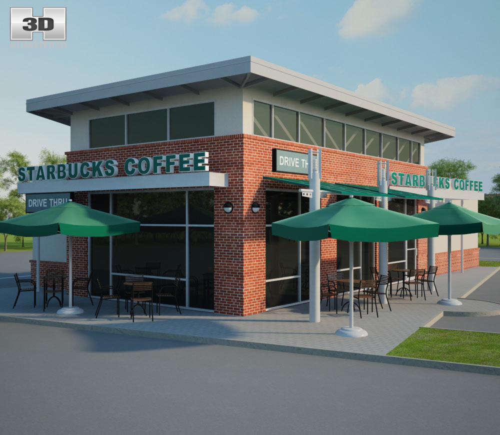 Starbucks Restaurant 01 3d model