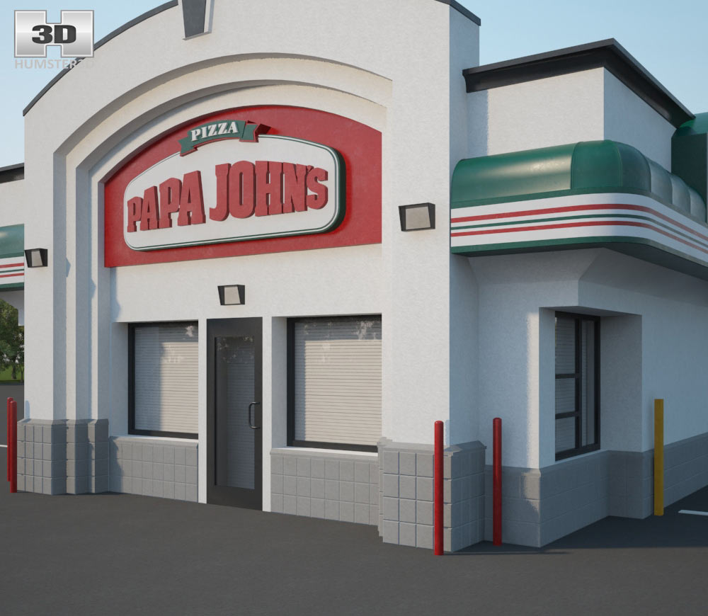 Papa John's Pizza Restaurant 01 3d model