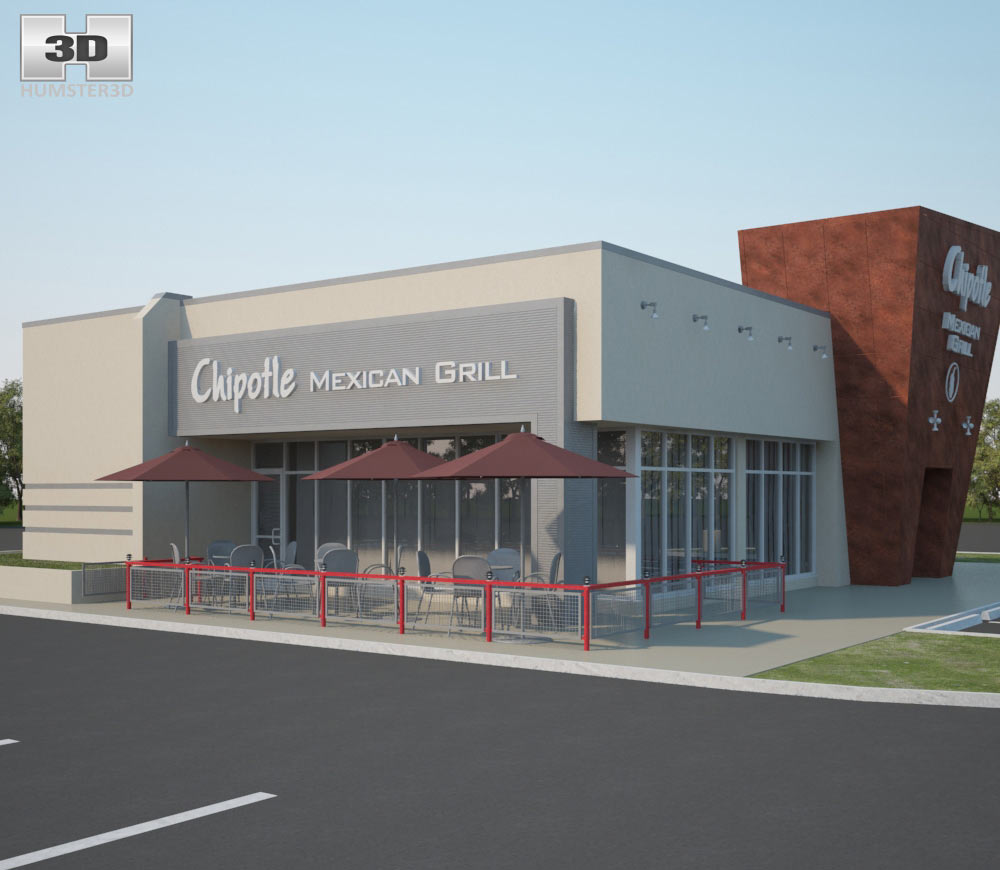 Chipotle Mexican Grill Restaurant 02 3d model