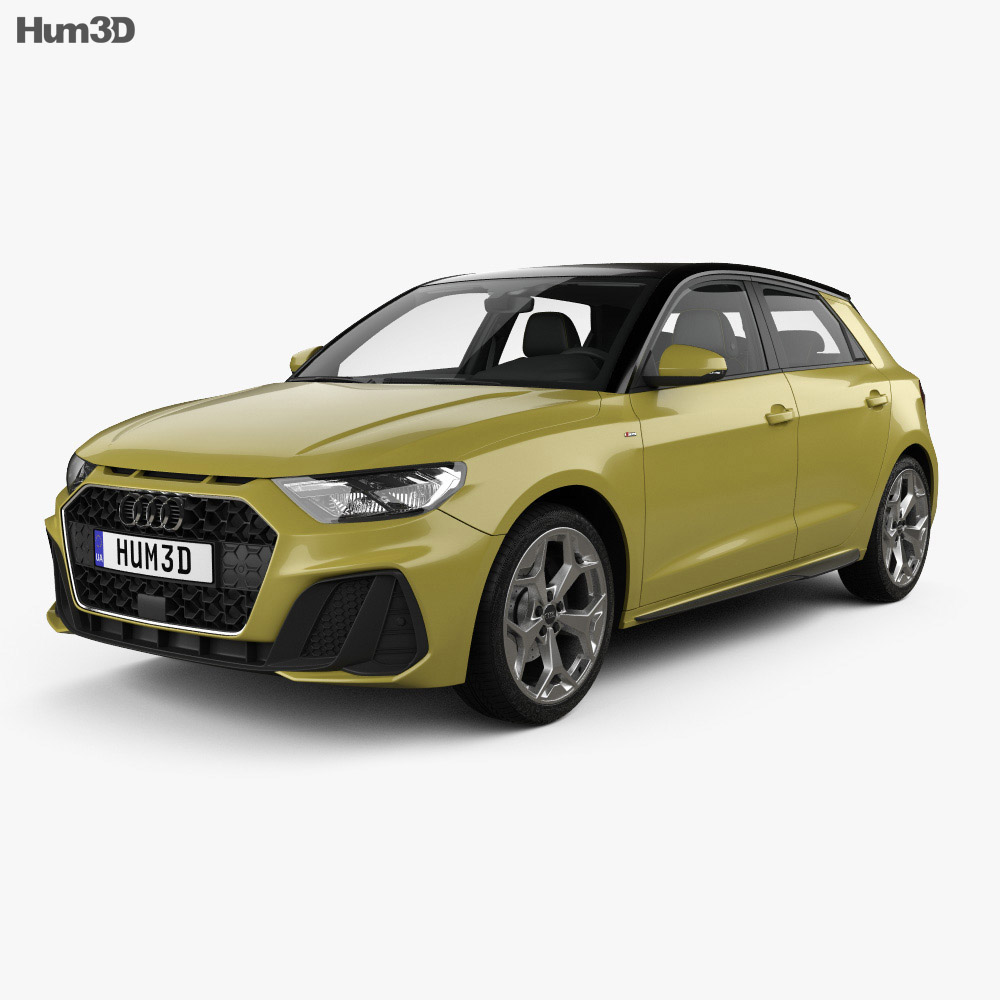 3D model of Audi A1 Sportback S-line with HQ interior 2018
