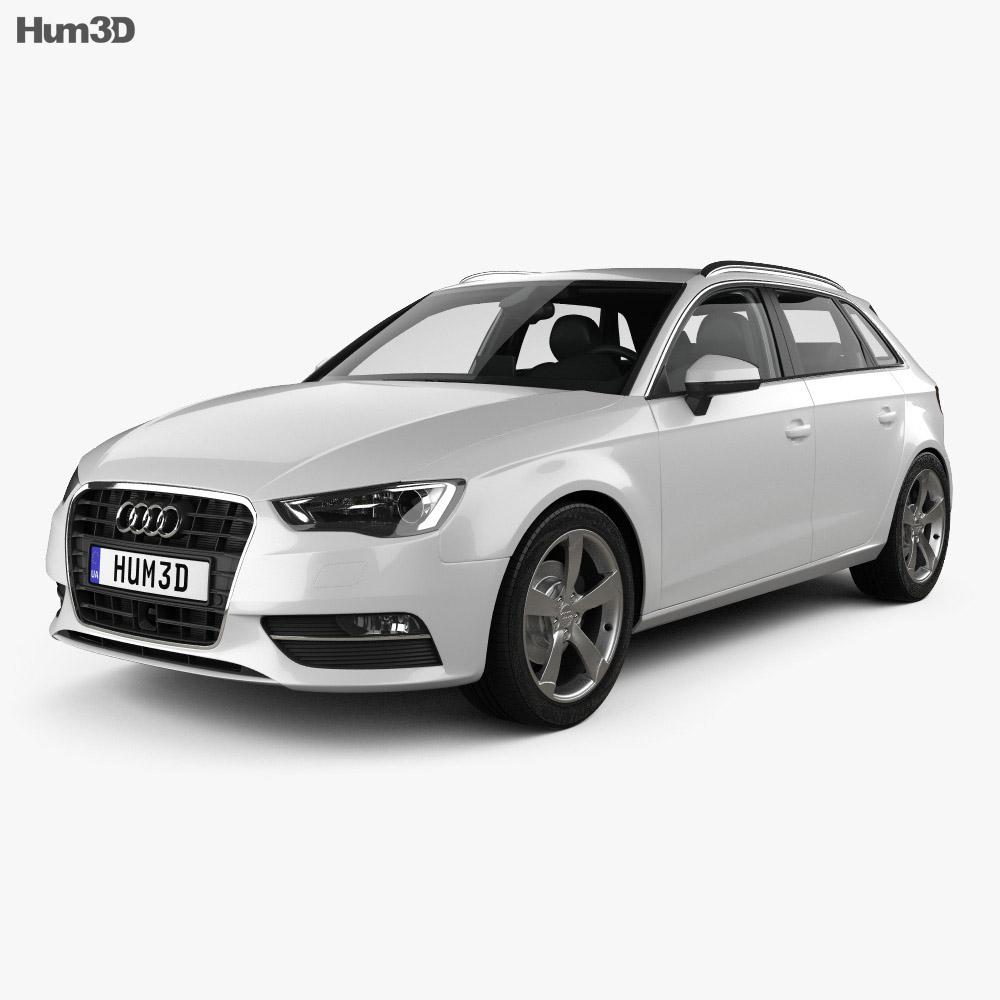 Audi A3 Sportback With Hq Interior 2013 3d Model Hum3d