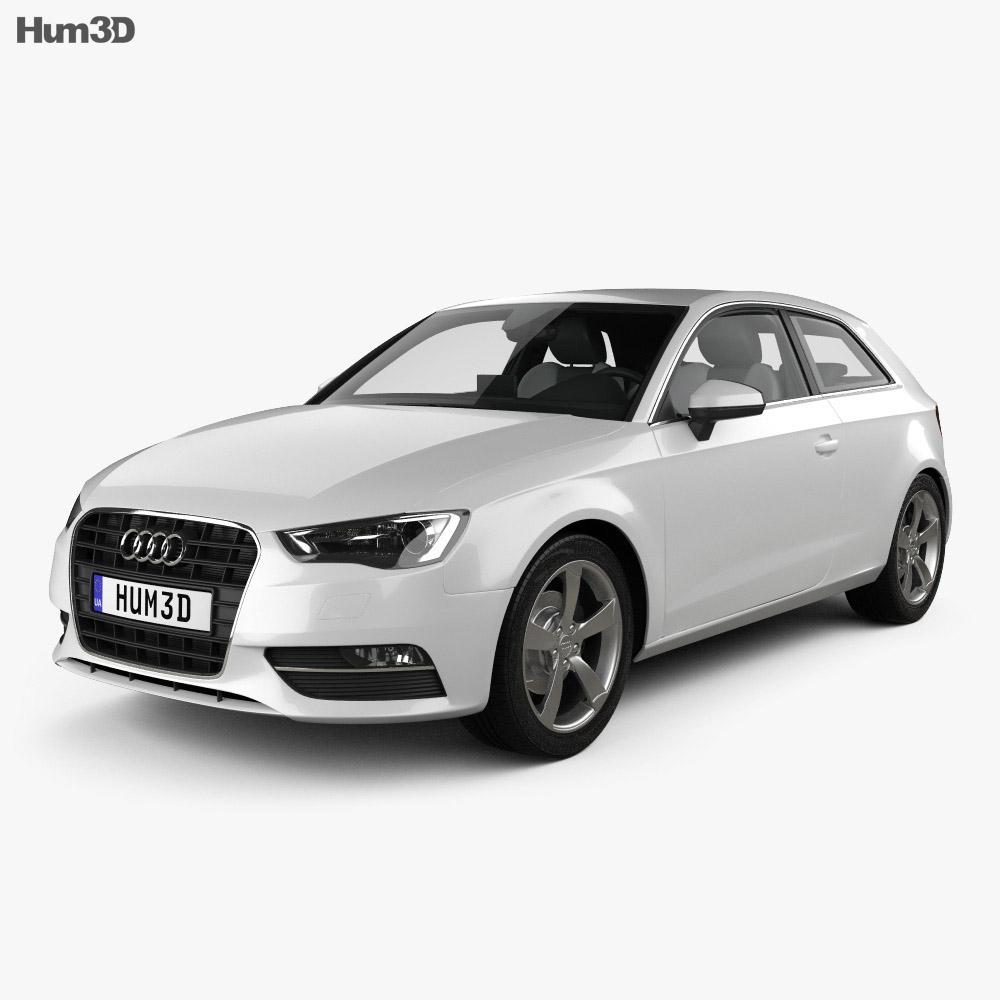 audi a3 hatchback 3 door with hq interior 2013 3d model hum3d. Black Bedroom Furniture Sets. Home Design Ideas