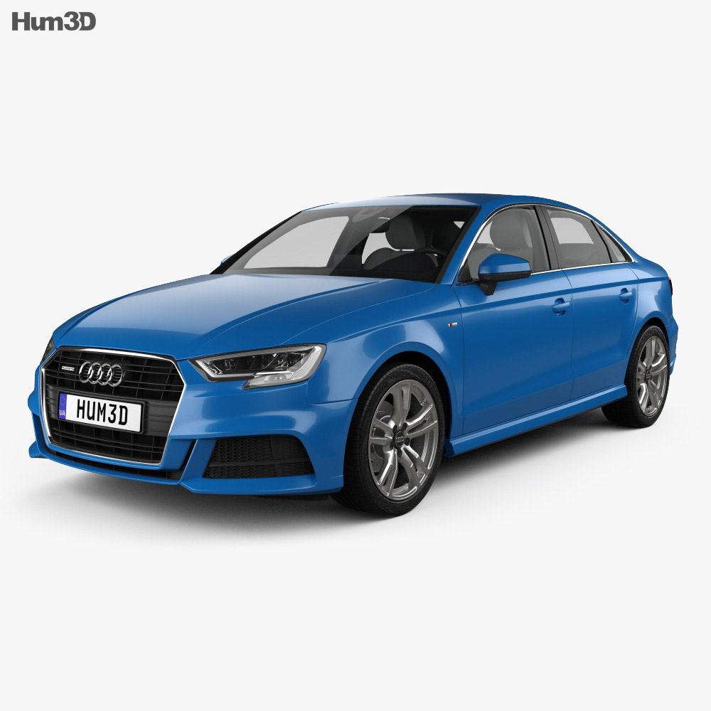 Audi A3 S-line Sedan With HQ Interior 2016 3D Model
