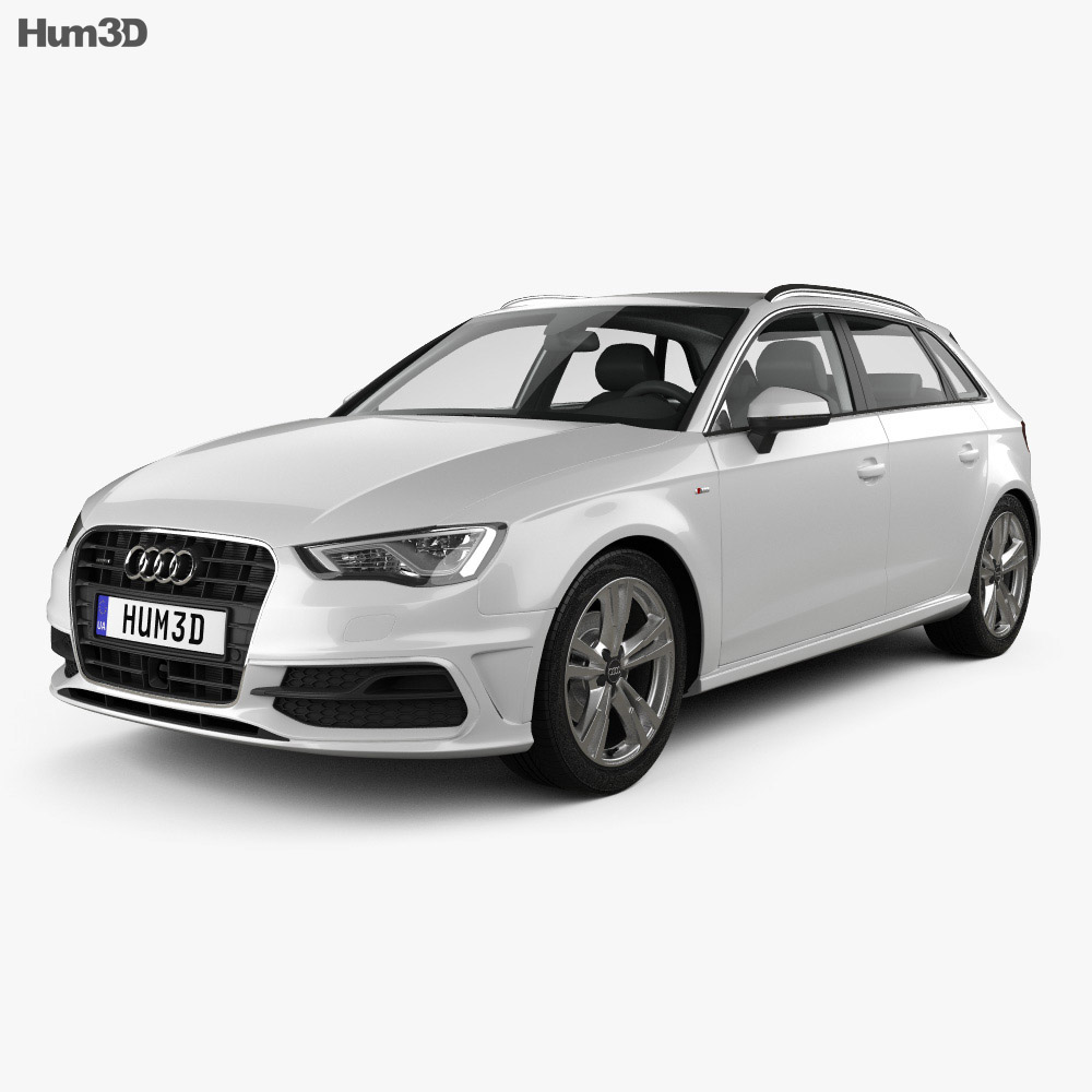 audi a3 sportback s line 2013 3d model hum3d. Black Bedroom Furniture Sets. Home Design Ideas
