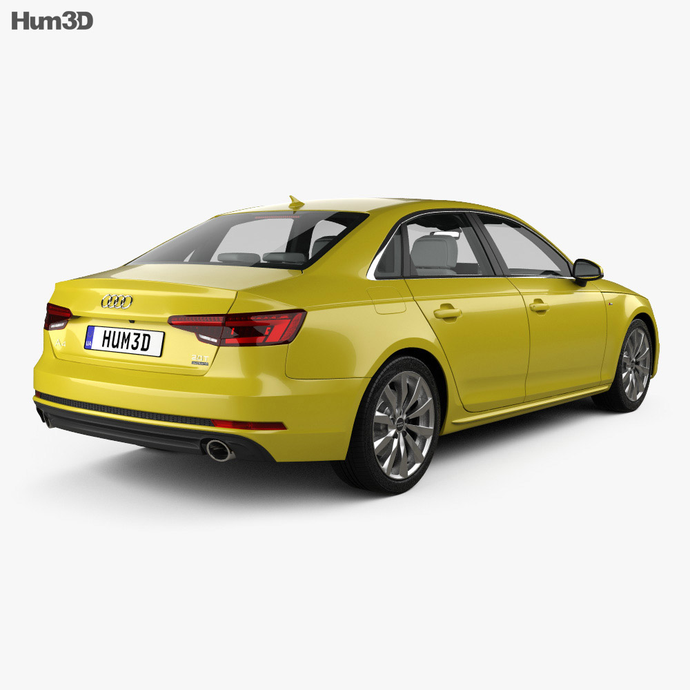 Audi A4 (B9) S-line saloon with HQ interior 2016 3d model