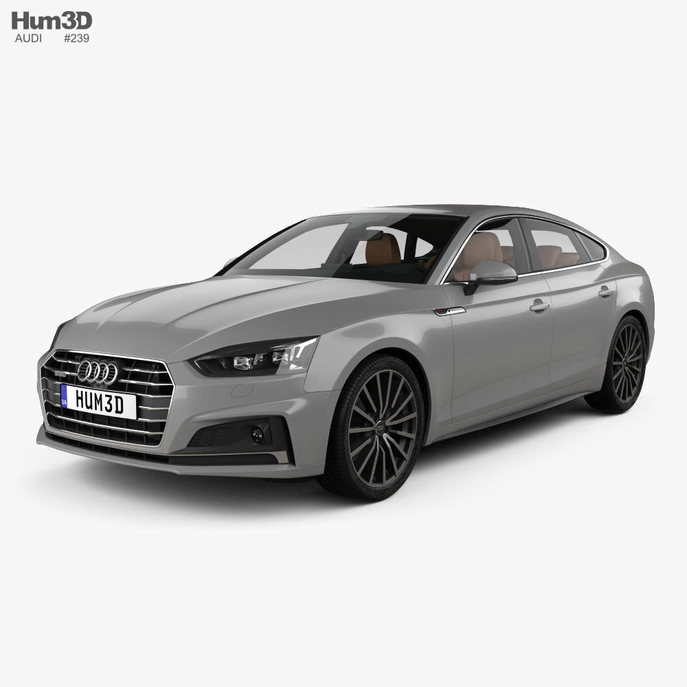 Audi A5 S-line sportback with HQ interior 2017 3d model