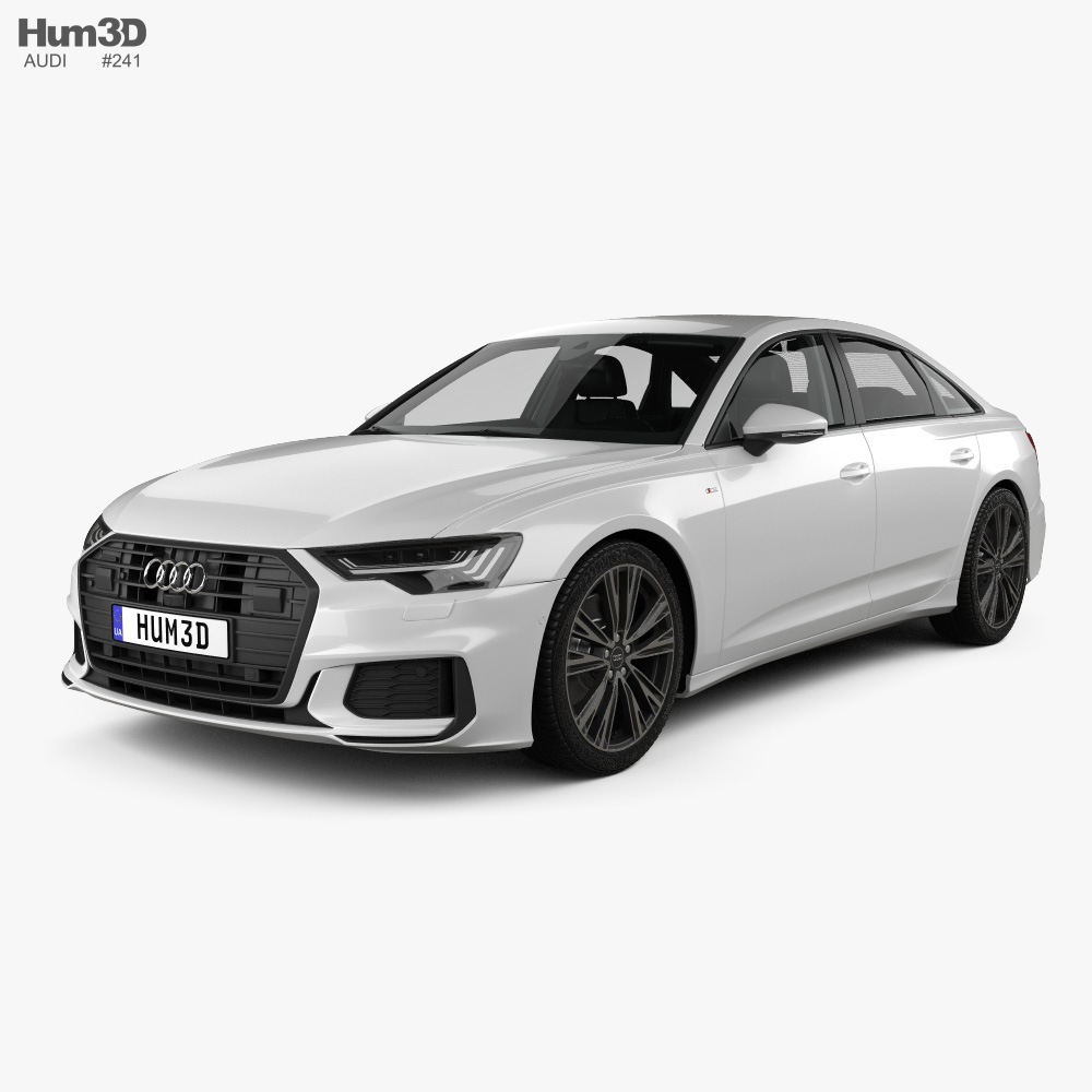 Audi A6 S-Line sedan with HQ interior 2018 3d model