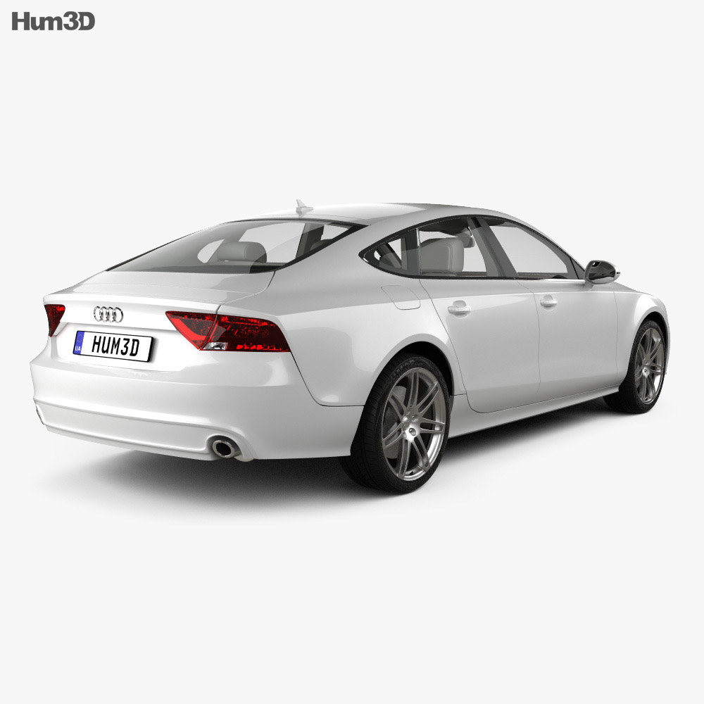 Audi A7 Sportback with HQ interior 2011 3d model back view