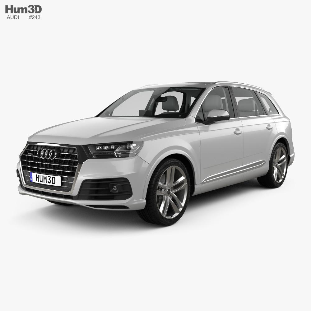 Audi Q7 S-line with HQ interior 2016 3d model