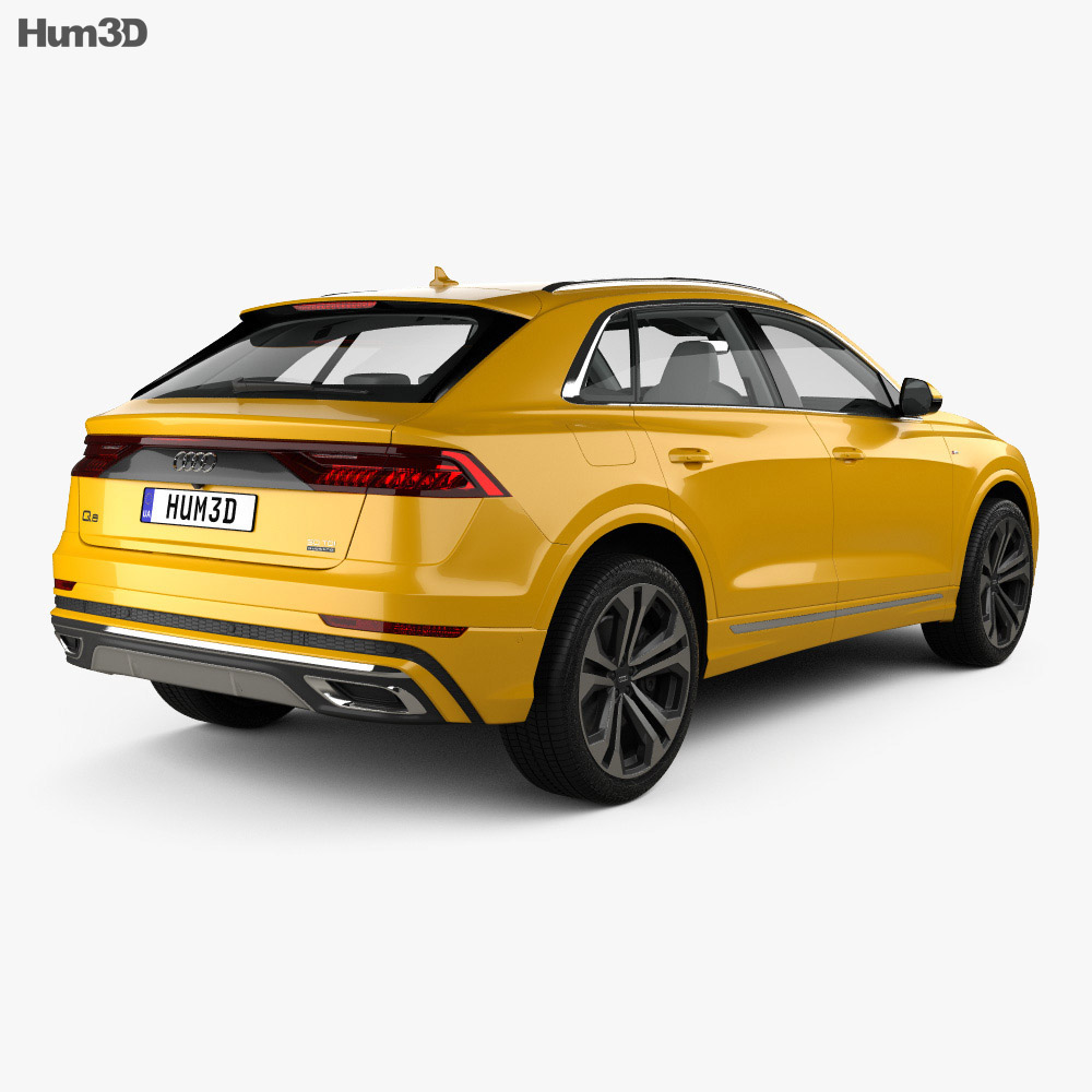Audi Q8 S-line with HQ interior and engine 2018 3d model
