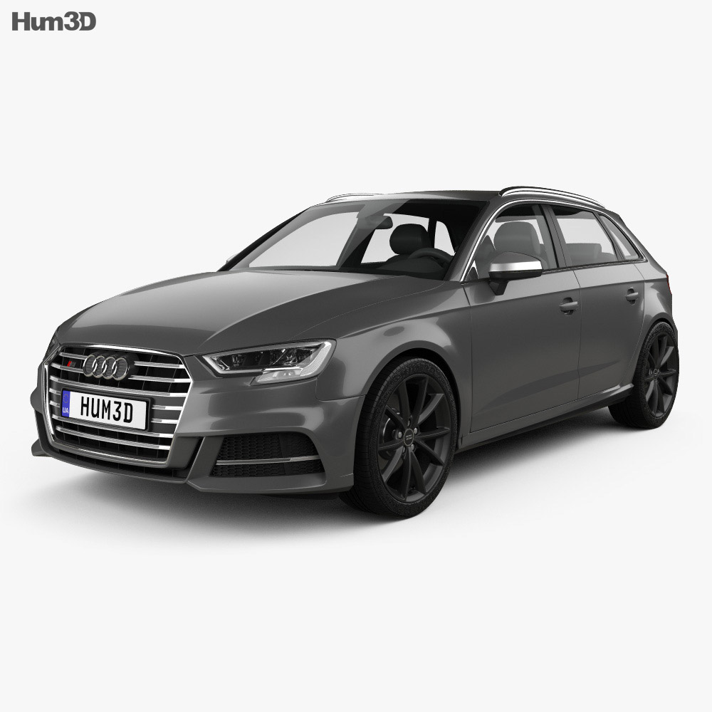 audi s3 sportback 2016 3d model hum3d. Black Bedroom Furniture Sets. Home Design Ideas