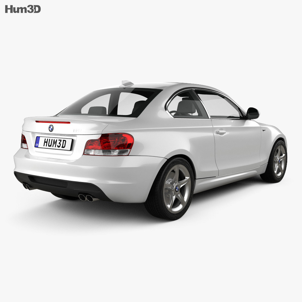 BMW 1 Series coupe with HQ interior 2007 3d model