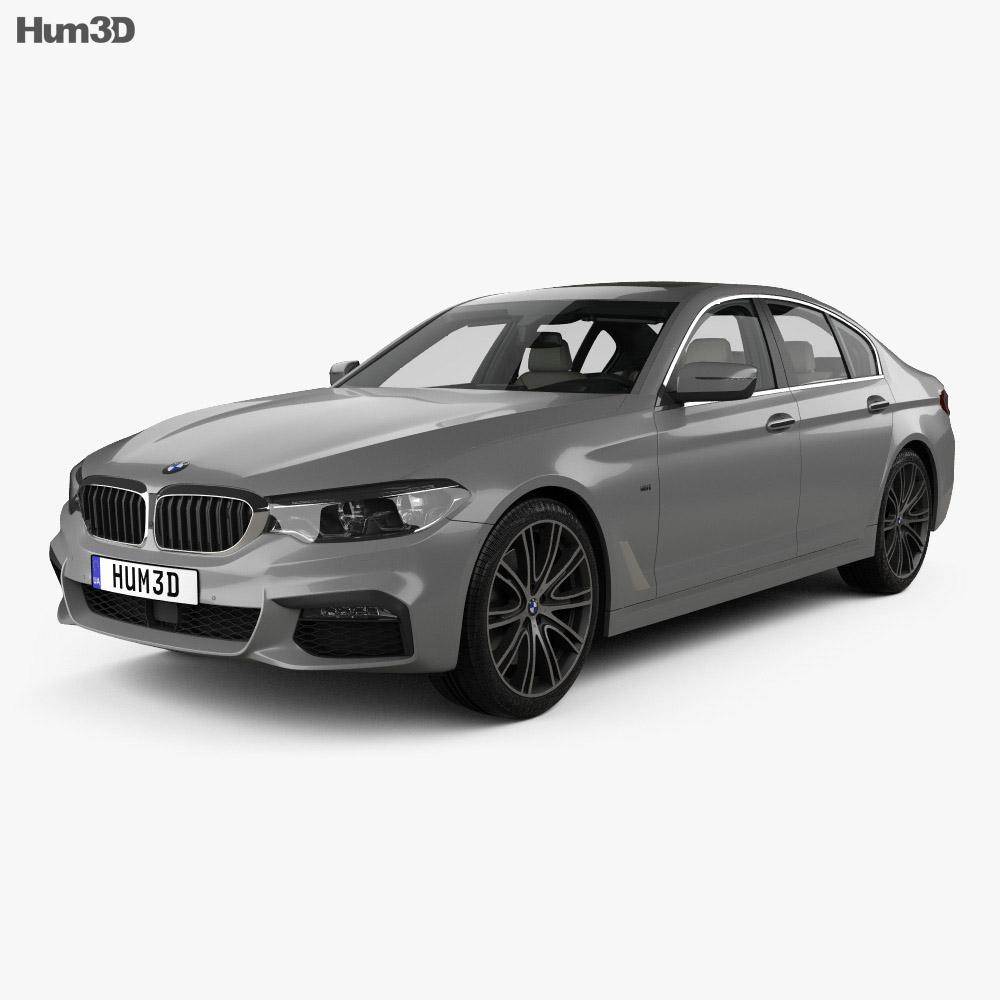 BMW 5 Series M-Sport sedan with HQ interior 2017 3d model