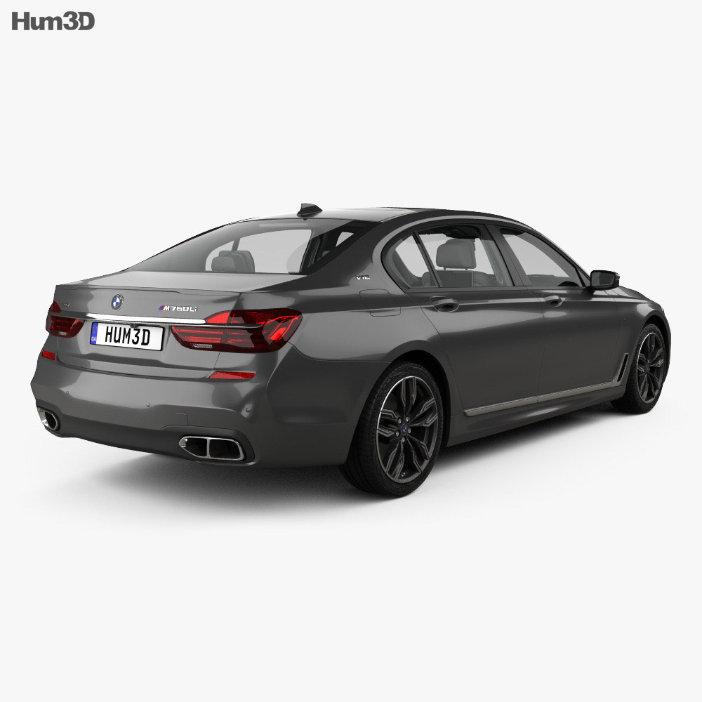 BMW M7 (G12) with HQ interior 2017 3d model