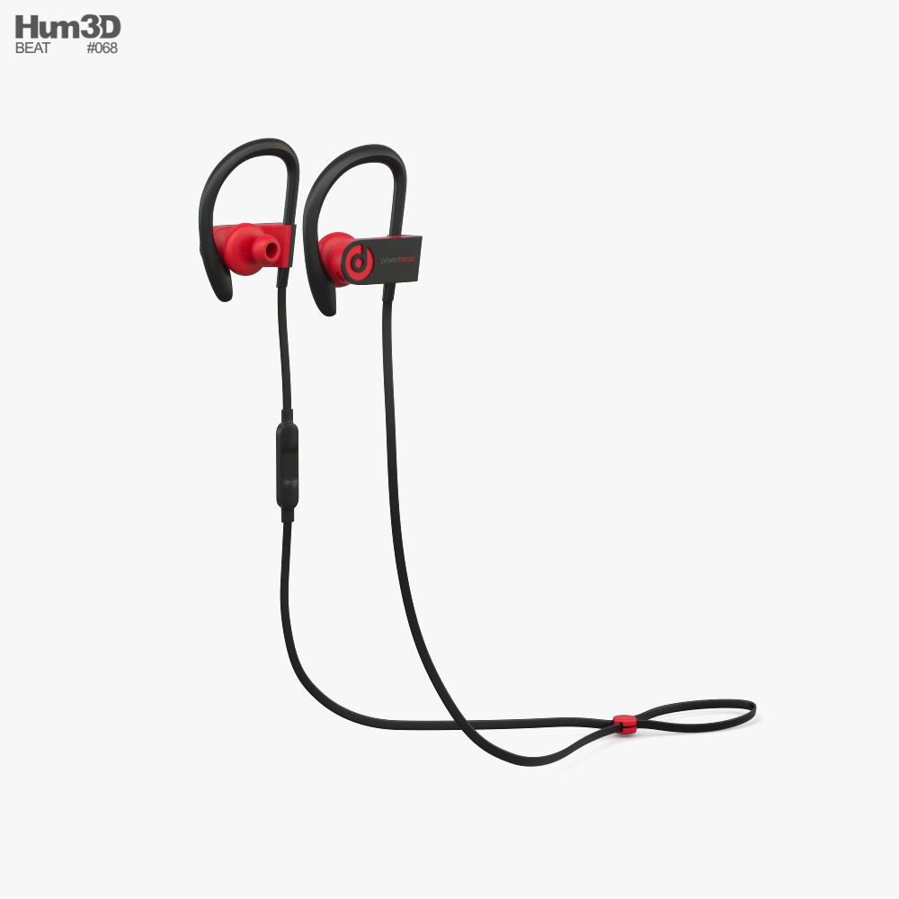 Beats Powerbeats 3 Black Red 3d model