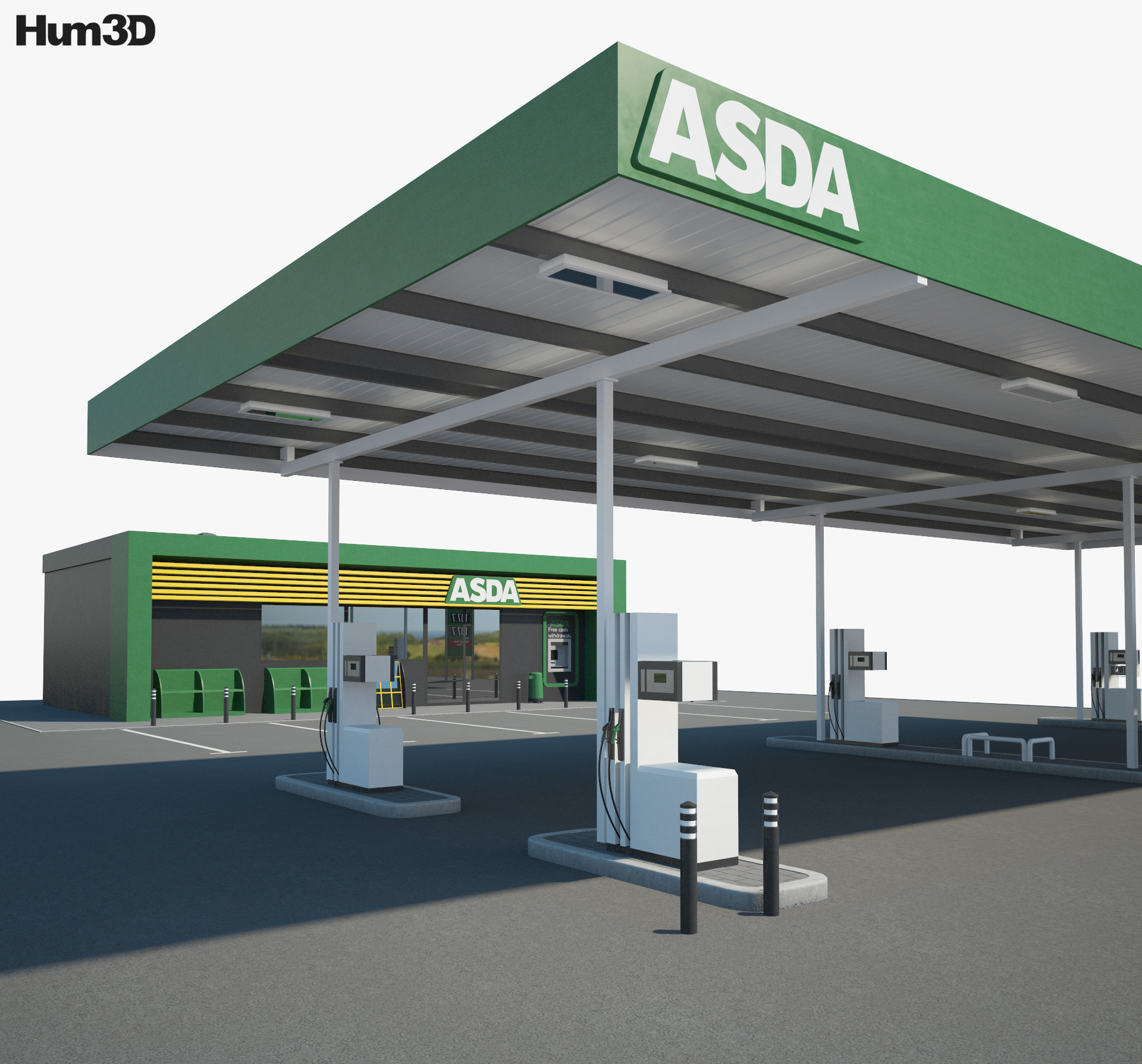 ASDA gas station 001 3d model
