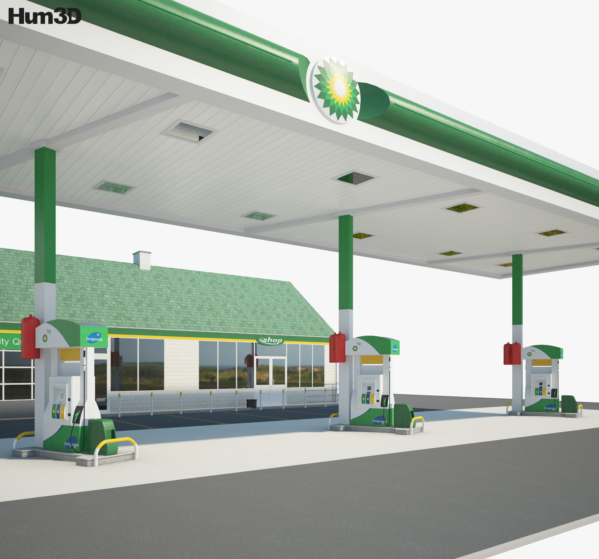 BP gas station 001 3d model