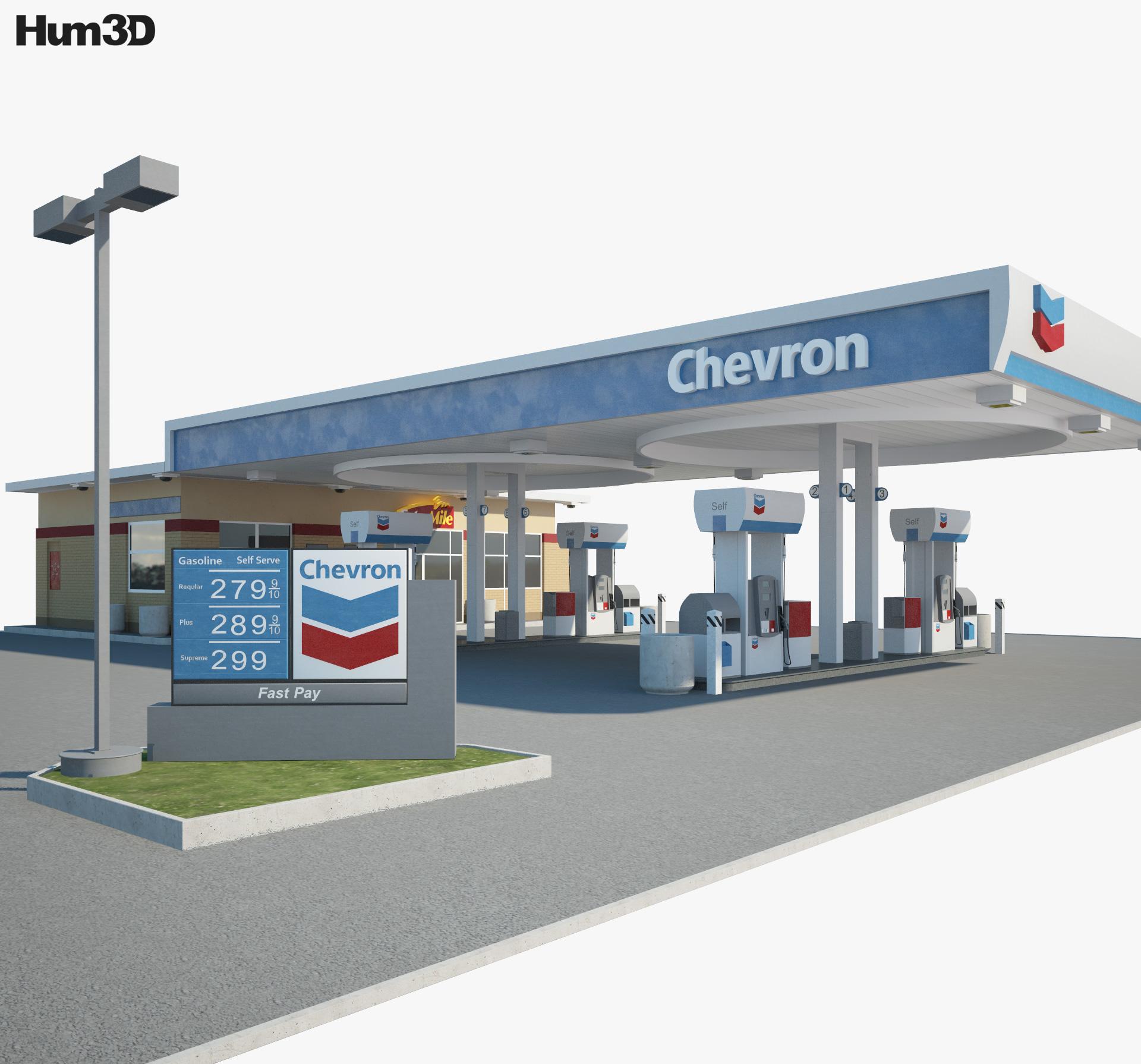 Chevron gas station 001 3d model