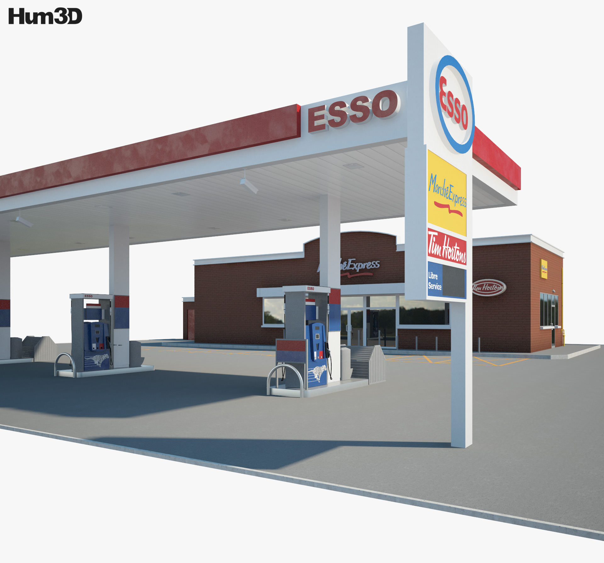 ESSO gas station 001 3d model