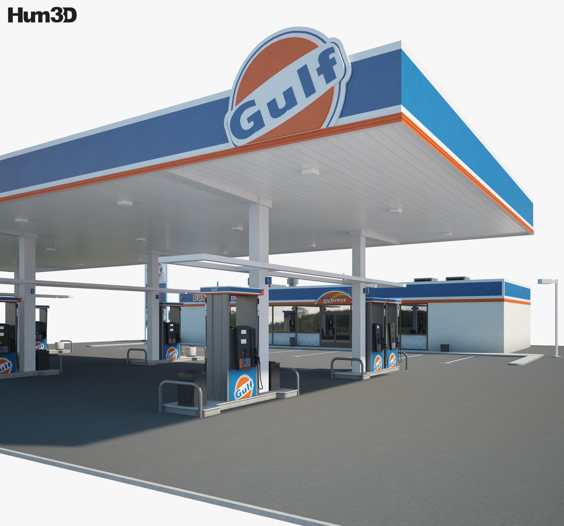 Gulf gas station 001 3d model