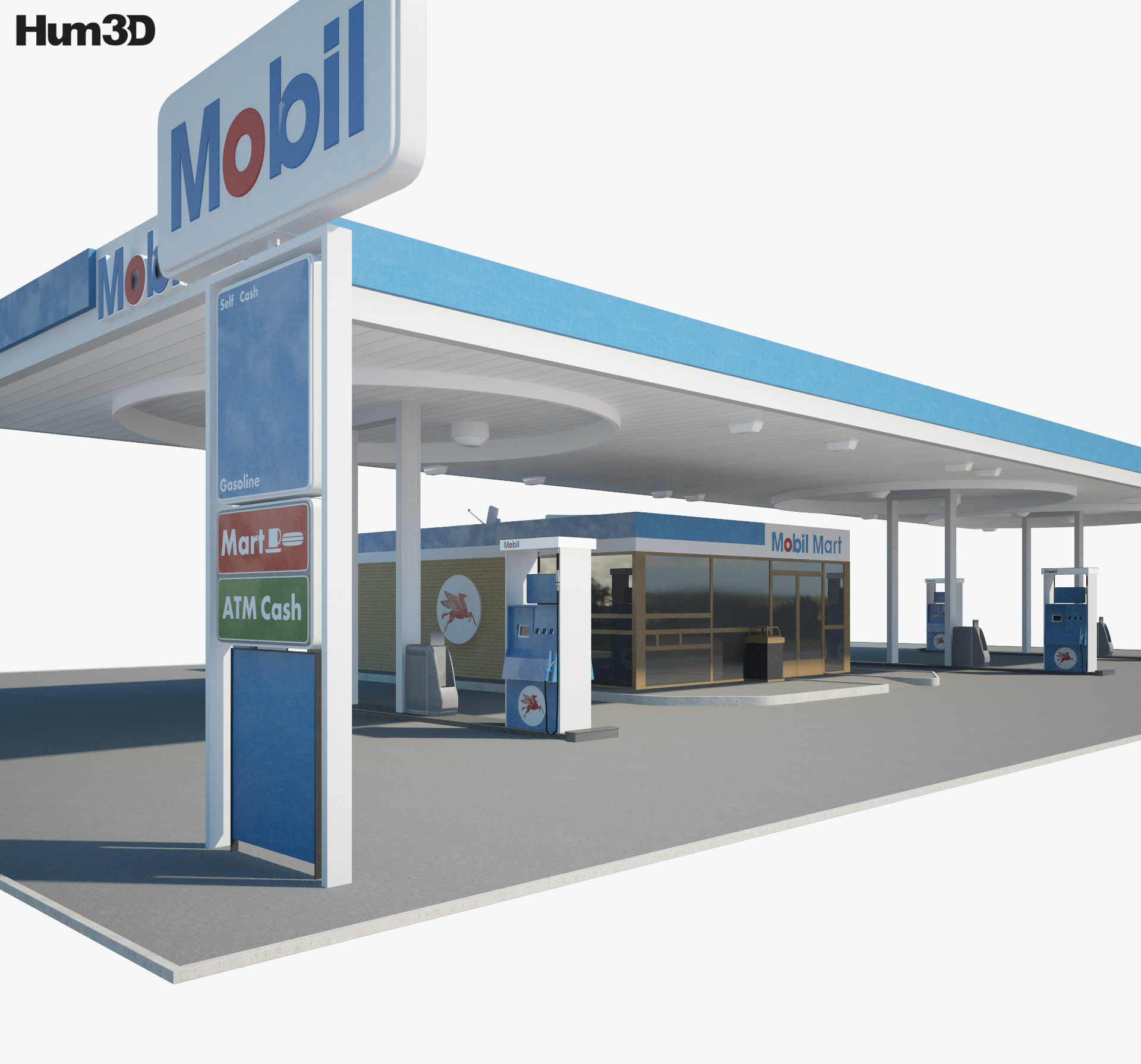 Mobil gas station 001 3d model