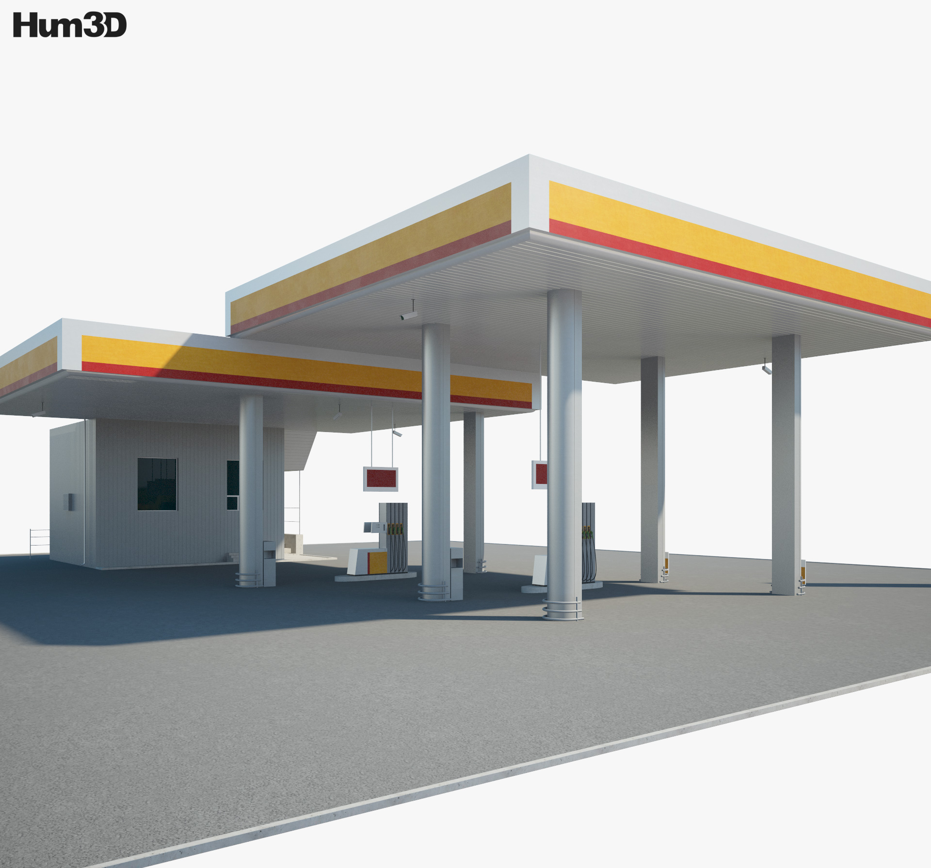 Shell gas station 001 3d model