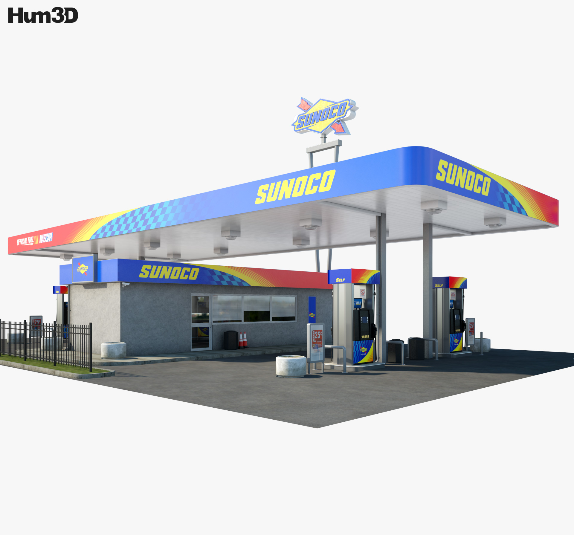 Sunoco gas station 001 3d model