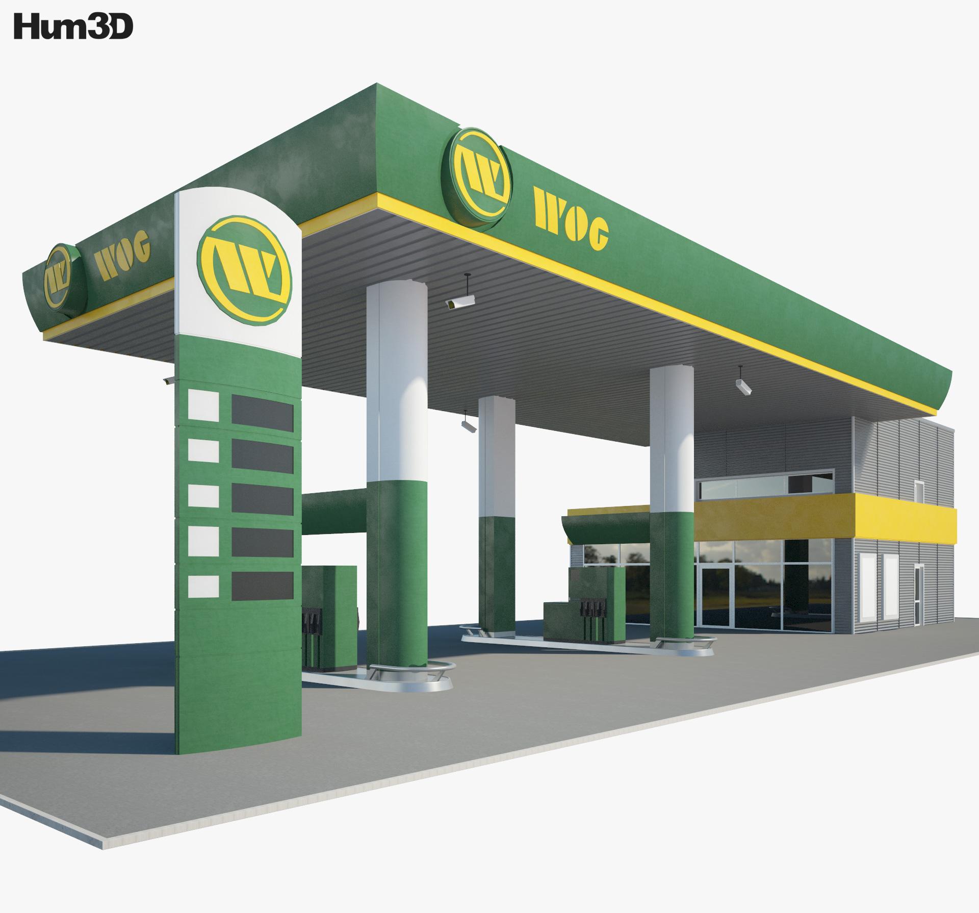 WOG gas station 001 3d model