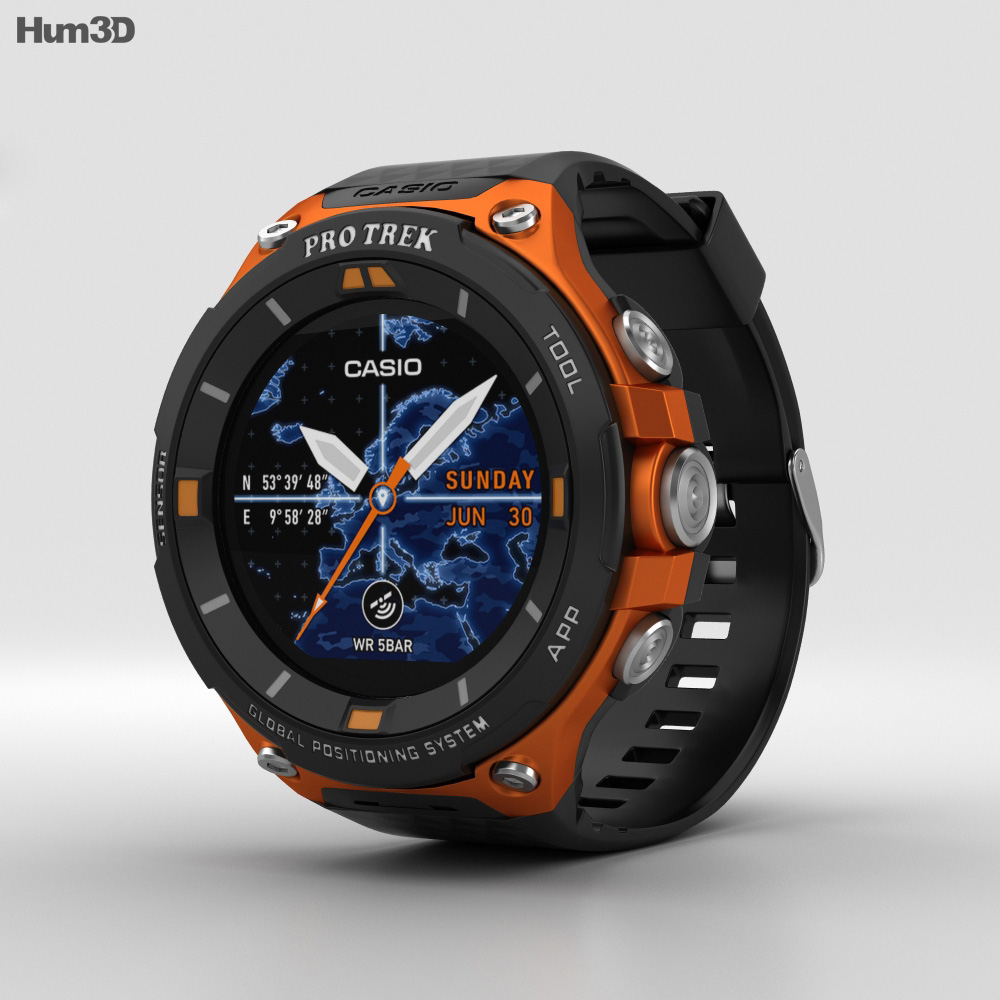 Casio Pro Trek WSD-F20 Orange 3d model