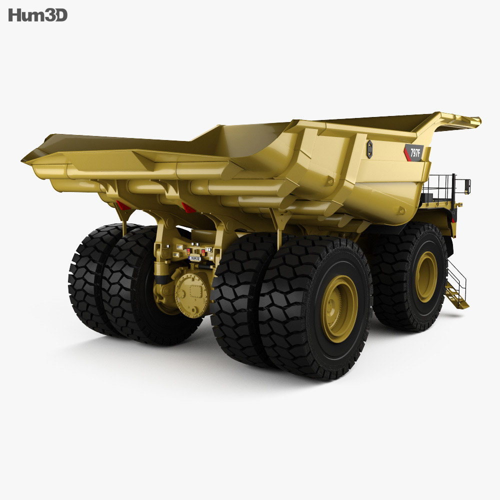 Caterpillar 797F Dump Truck with HQ interior 2009 3d model