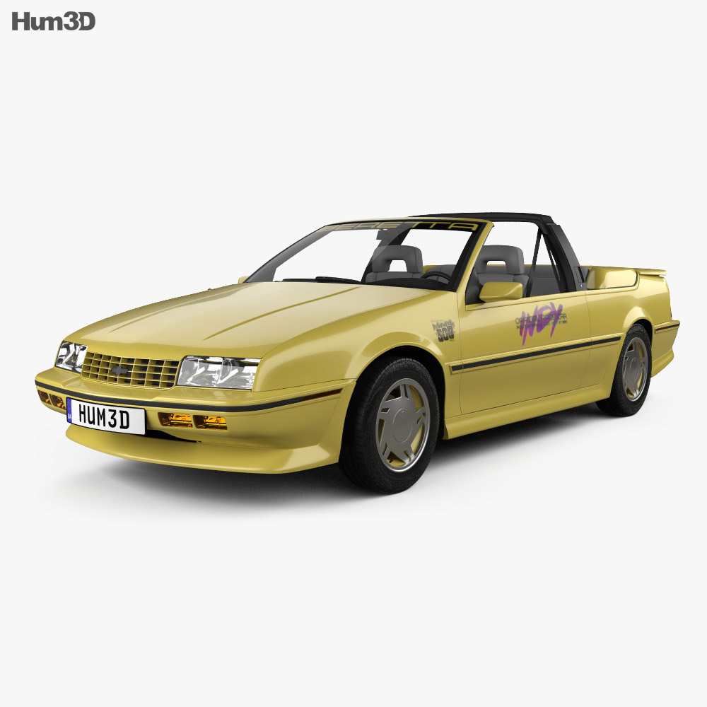 3D model of Chevrolet Beretta Indy 500 Pace Car with HQ interior 1990