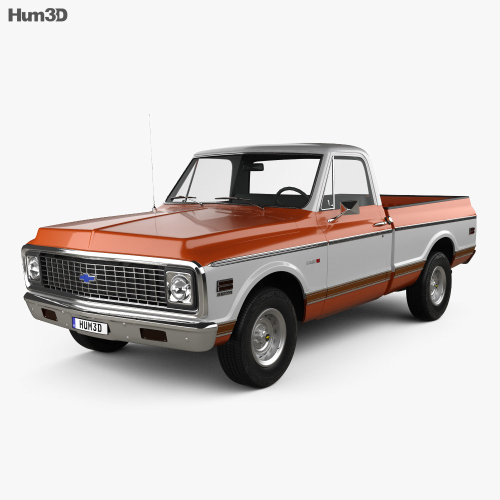 chevrolet c10 cheyenne pickup 1971 3d model humster3d. Black Bedroom Furniture Sets. Home Design Ideas