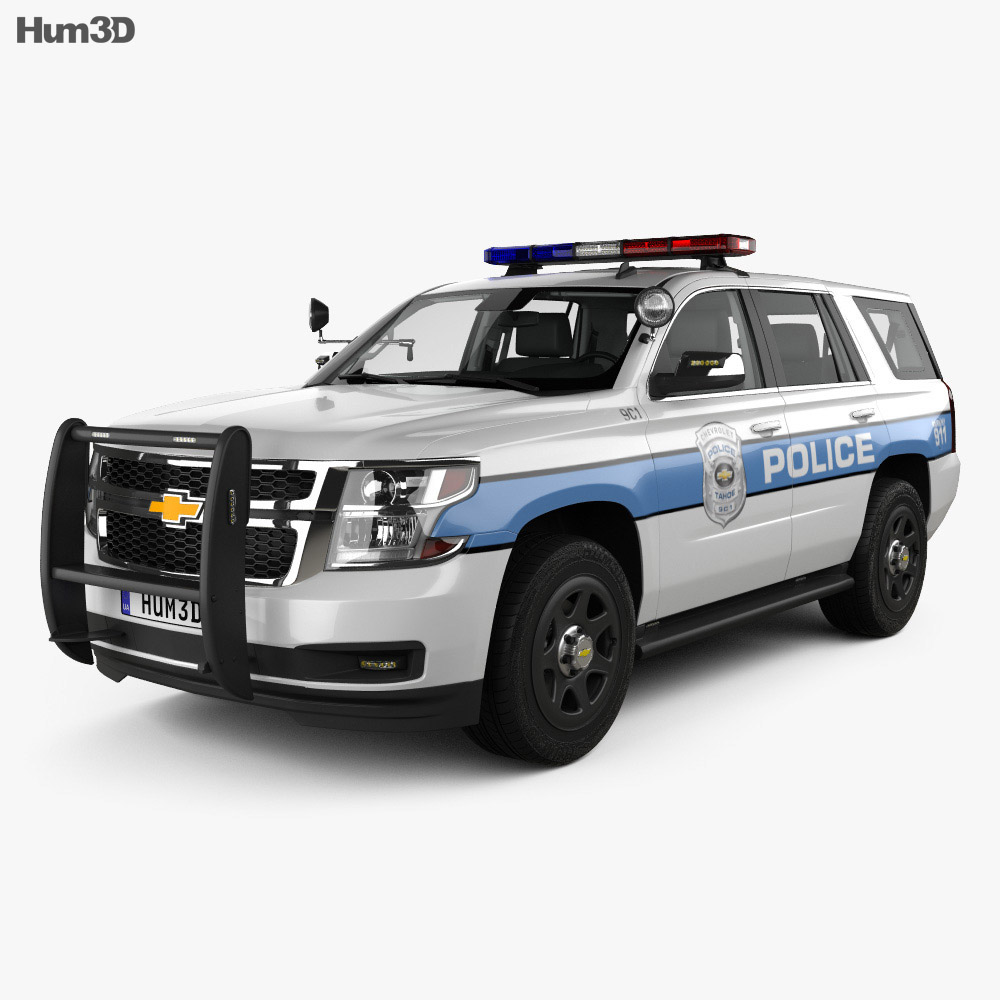 Chevrolet Tahoe Police with HQ interior 2016 3d model