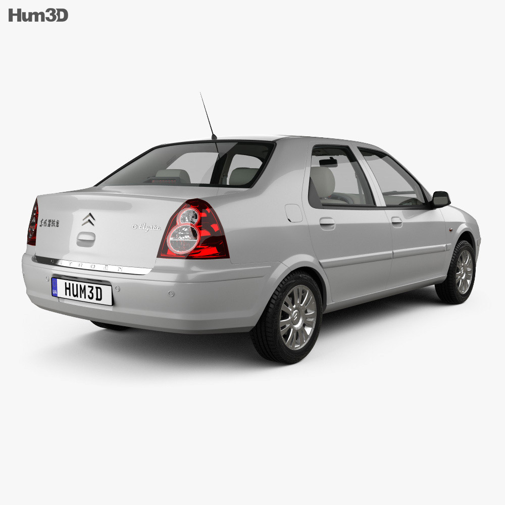 Citroen C-Elysee with HQ interior 2008 3d model back view