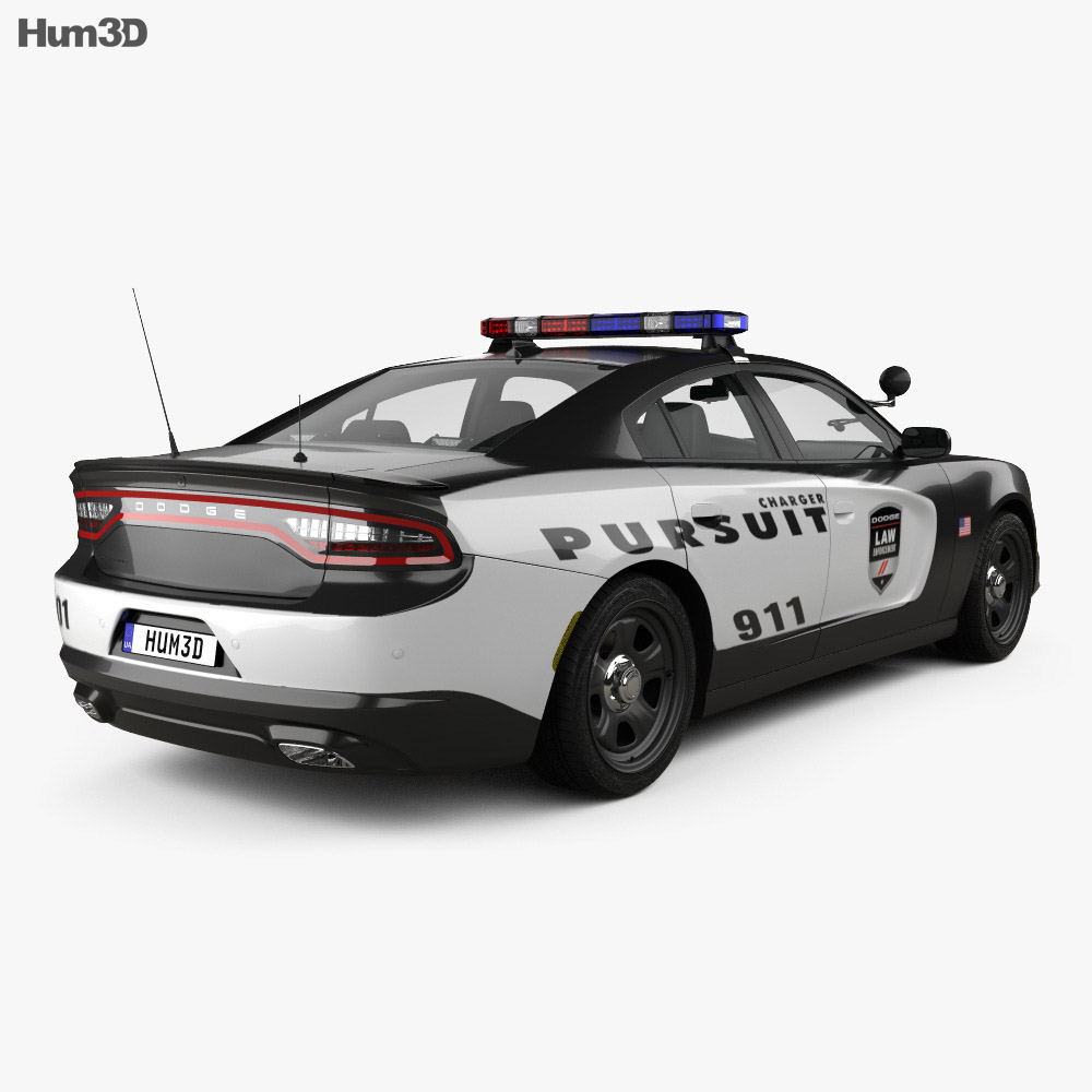 Dodge Charger Police with HQ interior 2015 3d model back view