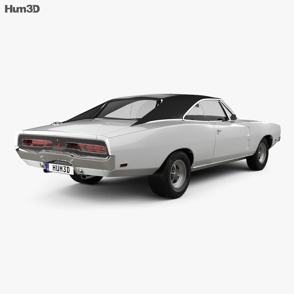 Dodge Charger RT 1969 3d model back view
