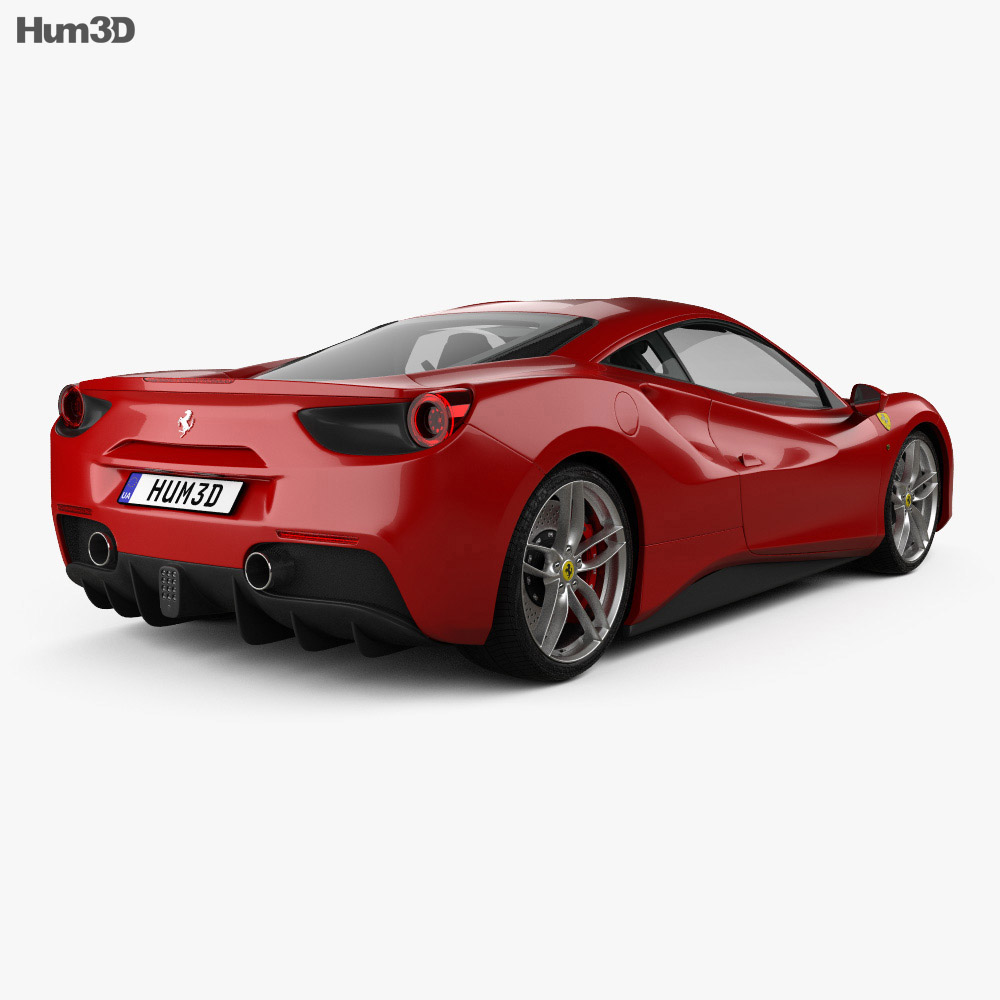 Ferrari 488 GTB with HQ interior 2016 3d model