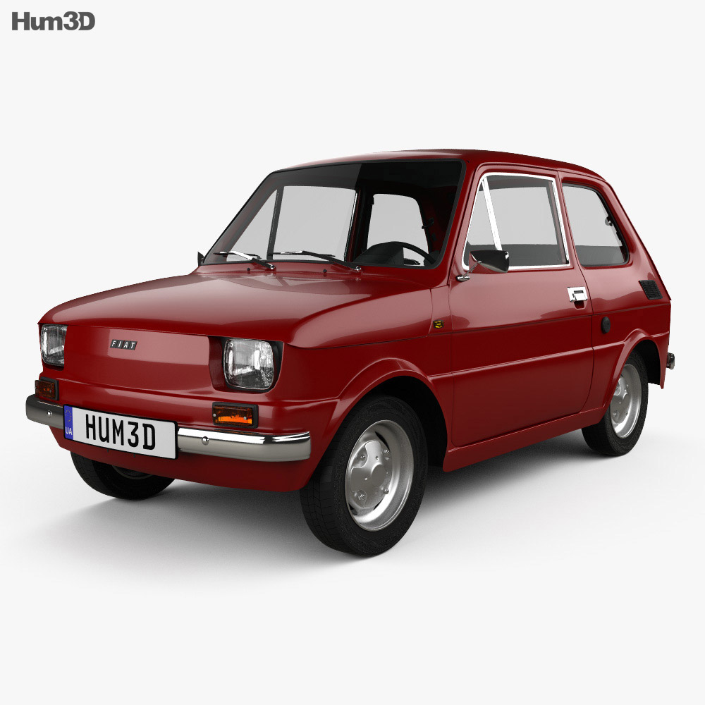 Fiat 126 with HQ interior 1976 3d model