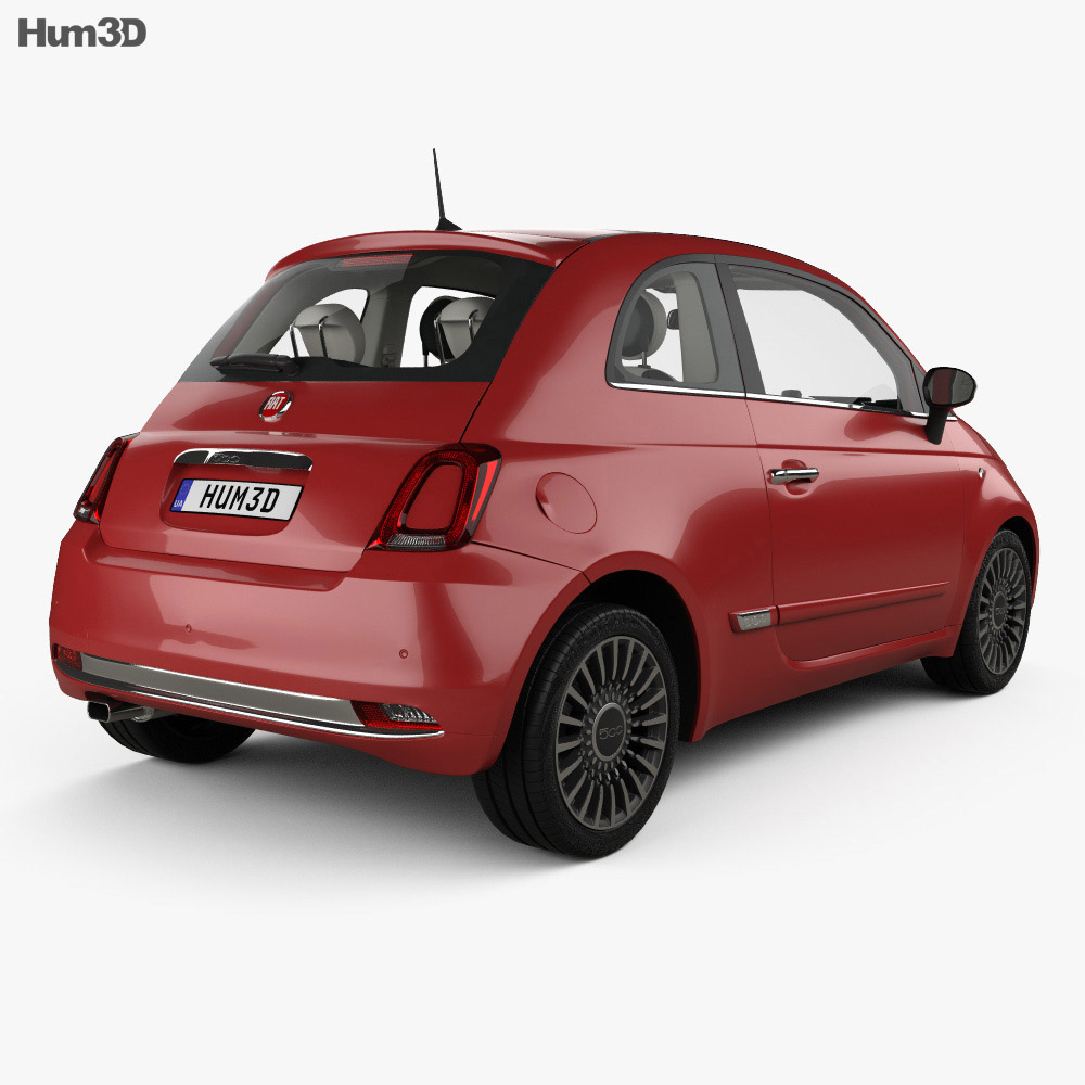 Fiat 500 with HQ interior 2015 3d model
