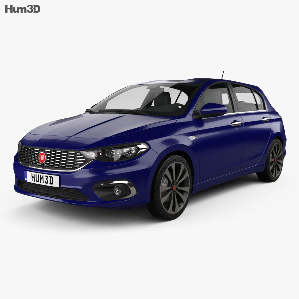 fiat tipo hatchback 2017 3d model vehicles on hum3d. Black Bedroom Furniture Sets. Home Design Ideas