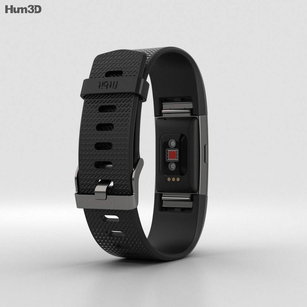 Fitbit Charge 2 Black 3d model