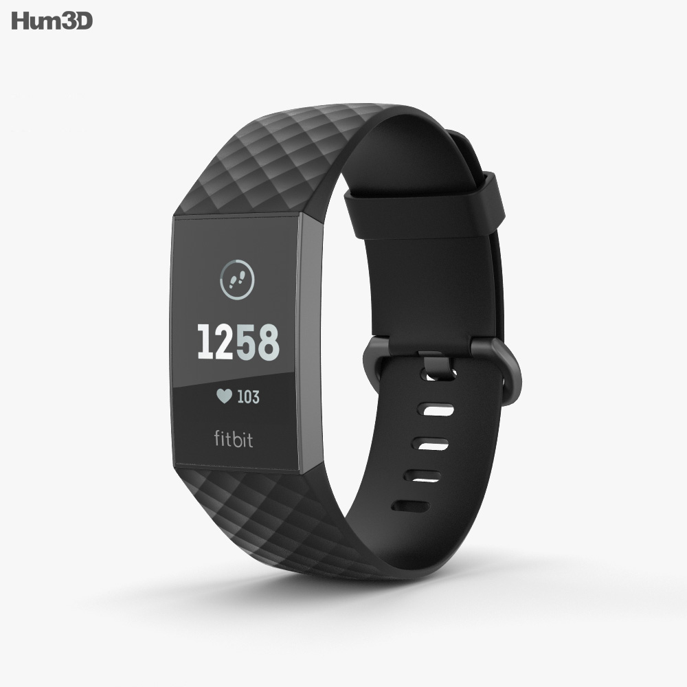 Fitbit Charge 3 Black 3d model