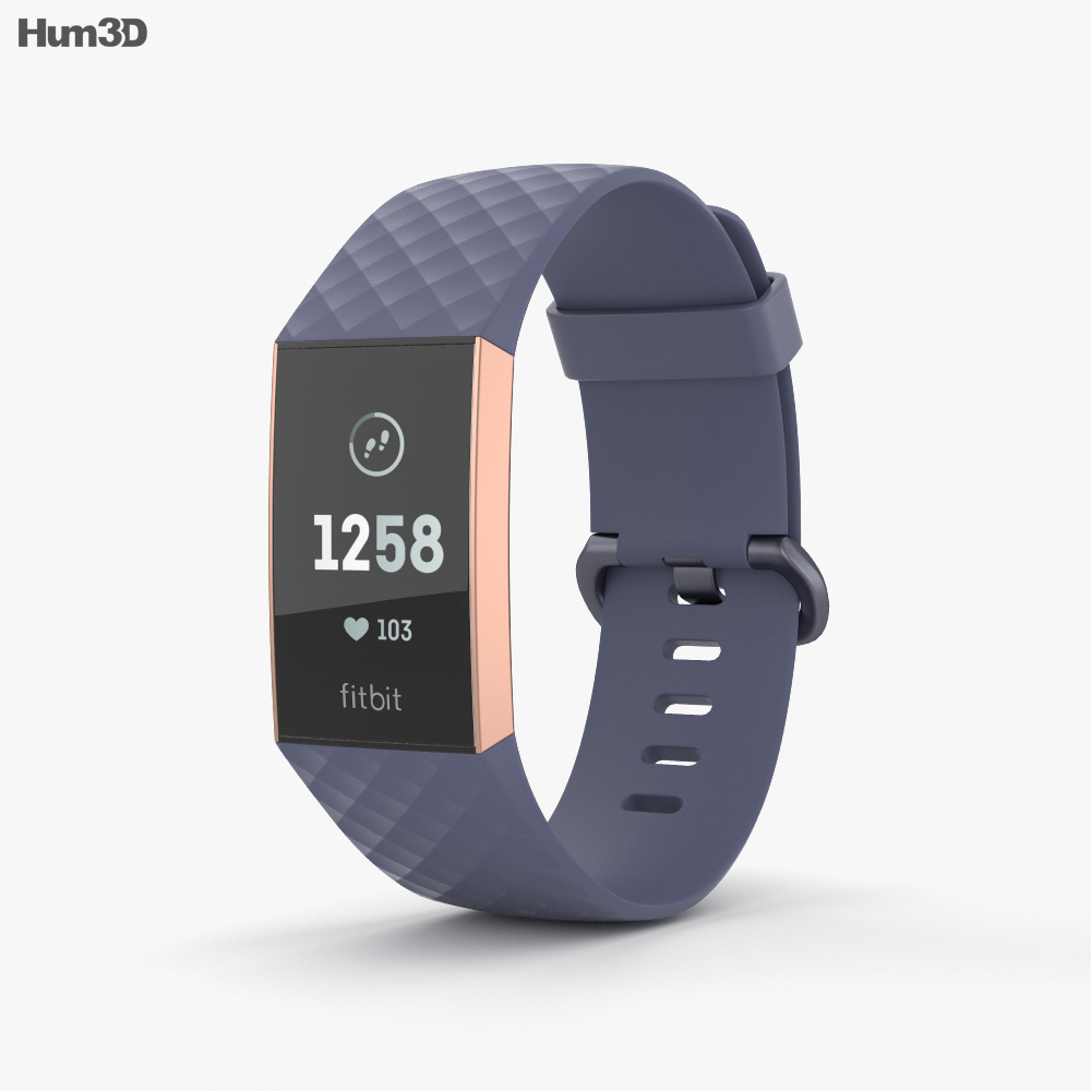 Fitbit Charge 3 Blue 3d model