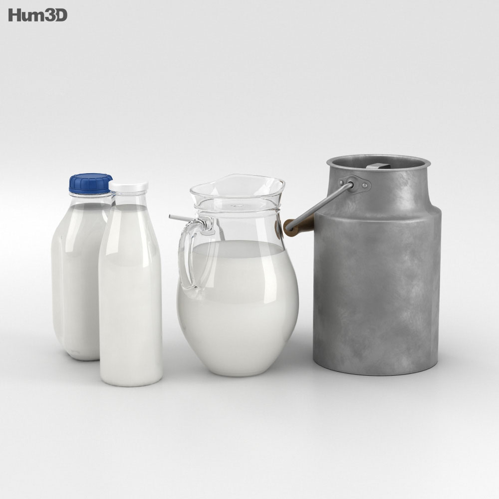 Milk Bottles Set 3d model