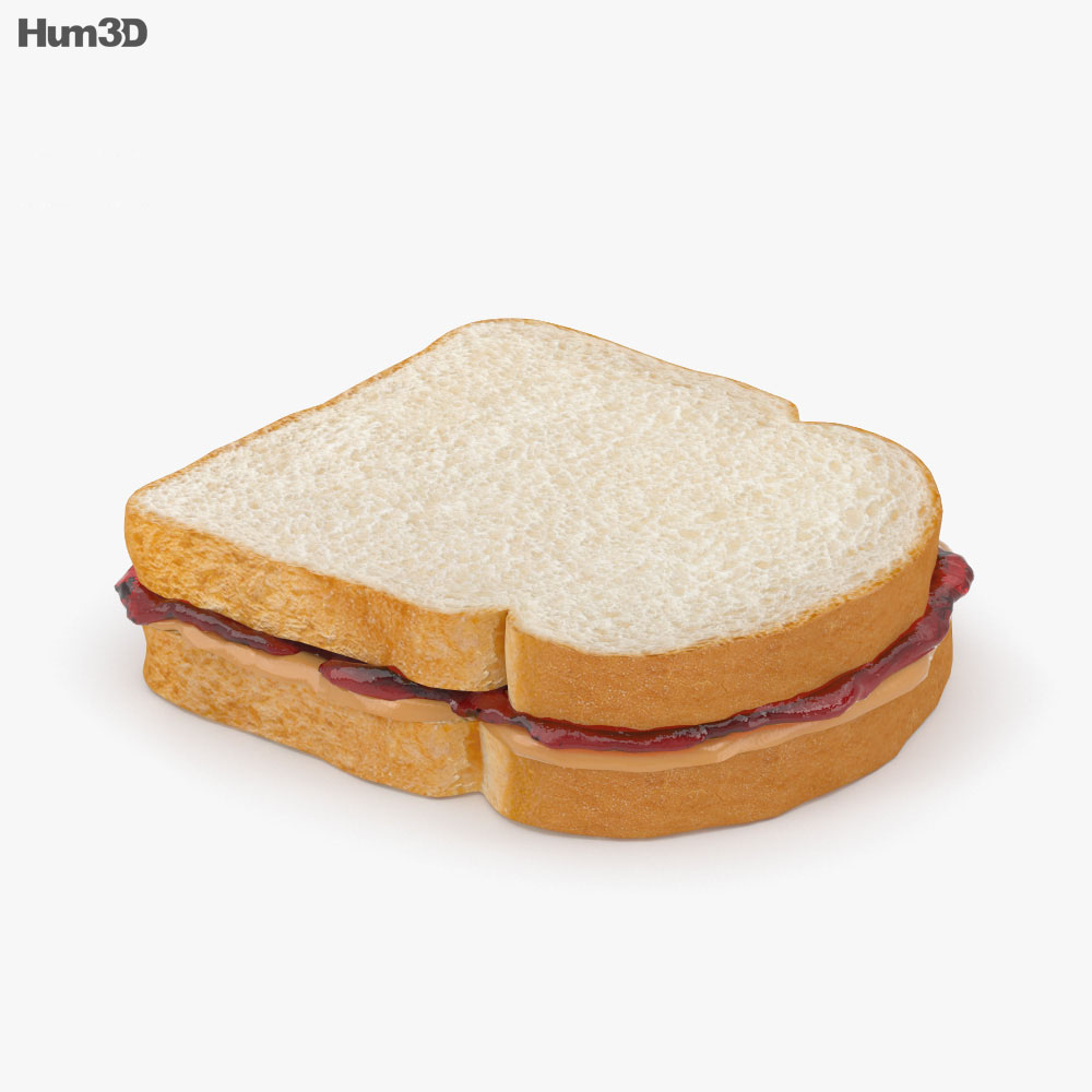 Peanut Butter And Jelly Sandwich 3d model