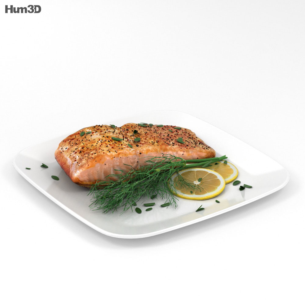 3D model of Cooked Salmon Fillet
